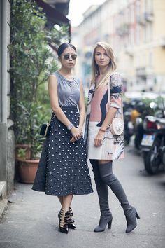 fashionably joined at the hip. #OksanaOn & #MariaKolosova in Milan.