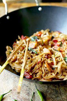 Thai Drunken Noodles with shrimp  - Pad Kee Mao - Pickled Plum, 284 calories