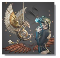 """""""steampunk dragon"""" by art-gives-me-life ❤ liked on Polyvore featuring art, contestentry and totallyfantasy"""