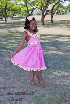 Girls circle colar sundress pink and yellow by TwinkerbellzDesigns