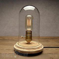 Vintage Retro Wood Glass Jar Hill Table Desk Lamp Readiing Bedside Light Study