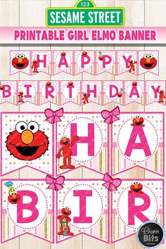 Girl Elmo Birthday BannerName Banner Pink Elmo Party