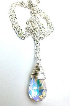 Sterling silver necklace with Clear Crystal pendant