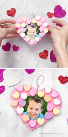 This photo valentine craft for kids is a fun activity to do this February. Use up all that leftover candy and make it with preschoolers, pre-K, and kindergarten children. Preschool Valentine Crafts, Kids Crafts, Valentine Activities, Kindergarten Crafts, Winter Crafts For Kids, Valentines For Kids, Valentines Crafts For Preschoolers, Valentines Anime, Craft Kids