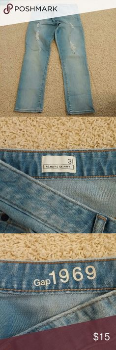 Gap Always Skinny jeans Gap Always Skinny light wash distressed jeans GAP Jeans Skinny
