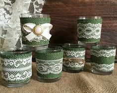 Items similar to 6 Hunter green burlap and ivory lace coveret votice tea candles, wedding, bridal shower table decoration on Etsy Bridal Shower Table Decorations, Green Wedding Decorations, Bridal Shower Tables, Mason Jar Crafts, Bottle Crafts, Tea Wedding Favors, Tea Candles, Burlap Candles, Tin Can Crafts