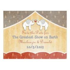 Shabby Chic Save the Date Cards Vintage Shabby Chic Circus Wedding Save the Date Postcard