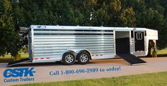 NEW 4-Star 26' V-Nose stock trailer with rear ramp and flip up door, side ramp, front tack room, polished aluminum. Great for show cattle and other show stock!