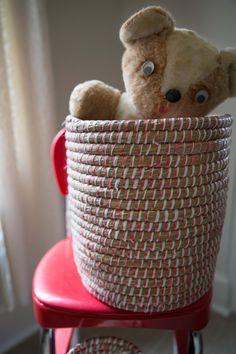 Handmade Christmas Basket // Red + White // Fair Trade Sustainable Holiday Decor // Ethical Alternative Gift Idea