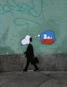 If you're going to do graffiti, do it so others can enjoy it as well. This makes me happy Melbourne Graffiti Me too, Snoopy. Me too. Banksy Graffiti, Street Art Graffiti, Bansky, Graffiti Artwork, Graffiti Painting, Charlie Brown Snoopy, Urbane Kunst, Grafiti, Public Art