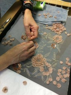 Wonderful Ribbon Embroidery Flowers by Hand Ideas. Enchanting Ribbon Embroidery Flowers by Hand Ideas. Tambour Beading, Tambour Embroidery, Bead Embroidery Patterns, Couture Embroidery, Silk Ribbon Embroidery, Embroidery Fashion, Embroidery Stitches, Hand Embroidery, Embroidery Designs