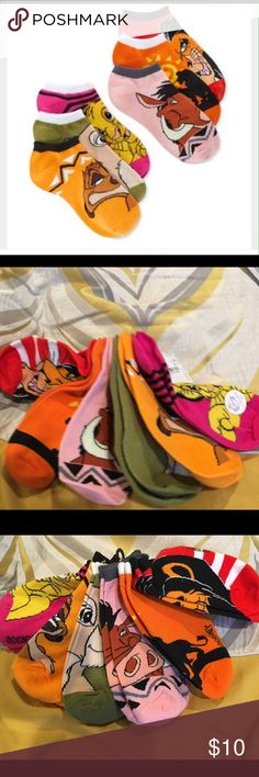 DISNEY LION KING 6-pack Socks Take pride in the land wearing these crazy and fun ankle socks. Material polyester/spandex.   Shoe size 4-10. Disney Accessories Hosiery & Socks