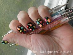 The Lacquerologist: Bright Flowers for Chalkboard Nails Nail Art Contest