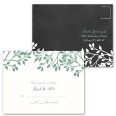 A sketch of two lovebirds perched within a budding tree stands out beautifully against the black background of these chalkboard wedding invitations. The tree appears in white. Lovebirds and your wording are printed in your choice of colors and fonts. Invitation includes inner and outer envelopes. This invitation comes as a value set with FREE matching response postcards!