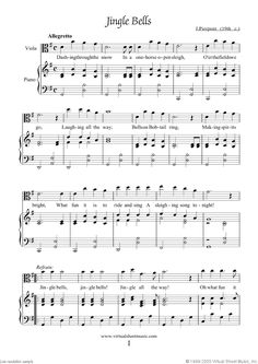 Jingle Bells for viola and piano from Christmas Sheet Music and Carols, coll.1 for viola and piano