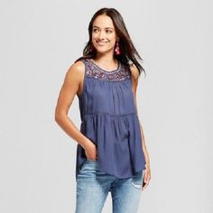 ea646b8a2fd3cf WOMEN'S EMBROIDERED TIE BACK TOP By KNOX ROSE; LG; BLUE ZODIAC!