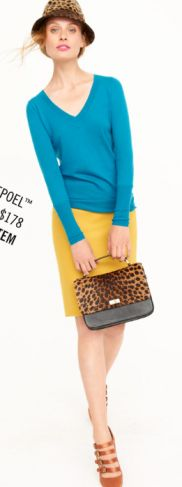 J Crew - not the hat or shoes, but love the purse, top and skirt