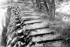 This is a picture of Trench Warfare. Trench warfare is where troops dig out trenches in the ground big enough to sit in and move around in, making it easier for troops to hide from the enemy.