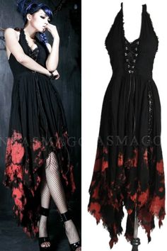 Vampire Flower Tie Dye Witchy Dress by Punk Rave