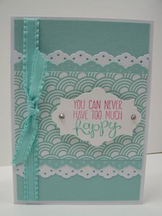 Stampin Up Handmade Greeting Card: Birthday Card, Masculine Birthday Card, Hand-Stamped, Turquoise & White