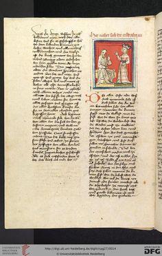 """Cod. Pal. germ. 27: Otto von Passau: Die 24 Alten (Straßburg - """"Werkstatt von 1418"""", 1418), 4v Der Erste Alte und die minnende Seele"""