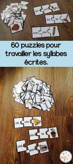 Jeu de puzzles (casse-tête) pour s'amuser avec les mots de 2 syllabes dans les centres de littératie.