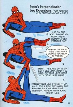 I mean really flexible. | The 10 Funniest Exercises From Marvel Comics' Weird Fitness Book