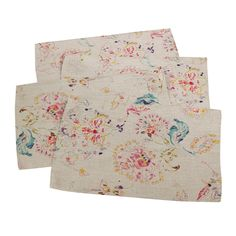 "(Set of 4) Natural Primavera Printed Floral Design Placemat 14""x20"" - Saro Lifestyle®"