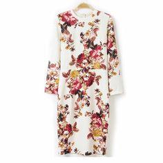 44,90EUR Kleid Etuikleid weiss mit Blumen langarm www.pinjafashion.com