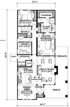 First Floor Plan of Bungalow   Craftsman   House Plan 57064 B