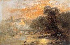 A River Landscape with a Figure and a Bridge