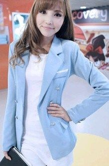 Blazer Wanita Casual Model Korea Terbaru, Blazer Blue (Kode 2293)