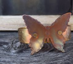 Copper and brass butterfly cuff bracelet free shipping by Amayeli, $28.00