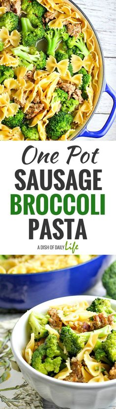 Sausage Broccoli Pasta is a go-to recipe for our family...fast, easy, delicious and it only uses one pot, so clean up is minimal! You can have it on the table in under 30 minutes too!   One Pot Meals | Pasta | Easy Recipes