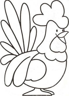 Preschool Farm Animal Coloring Pages A Rooster Make your world more colorful with free printable coloring pages from italks. Our free coloring pages for adults and kids. Applique Patterns, Applique Quilts, Applique Designs, Quilt Patterns, Farm Animal Coloring Pages, Colouring Pages, Coloring Books, Chicken Coloring Pages, Fairy Coloring