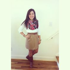 Fall outfit; J-crew skirt, infinity scarf, riding boots