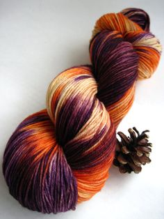 Colorway: September Sunset    Base Yarn: Bare - 75% Superwash Merino Wool / 25% Nylon 462 yards / 100 grams  Fingering Weight 7-8 sts / inch