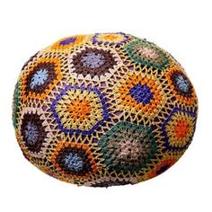 BLOOMINGVILLE  Multicoloured Crochet Pouf Foot Stool