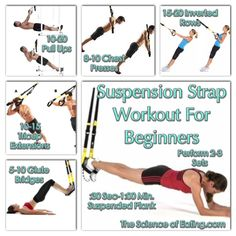 You may have seen those black straps hanging from the ceiling or walls of a gym and wondered what you do with them. Suspension Straps, were developed by Navy SEALS, and takes advantage of gravity along with your bodyweight to challenge every muscle, espec Trx Workouts For Women, Fit Board Workouts, Gym Workouts, At Home Workouts, Suspension Straps, Suspension Training, Heath And Fitness, Body Weight Training, Workout Rooms