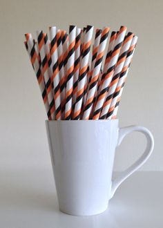 Paper Straws - 25 Orange and Black and White Double Striped Party Straws Halloween Wedding Birthday Bridal Shower Baby Shower by PuppyCatCrafts, $3.60