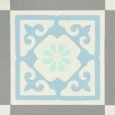 Carreau de ciment Belle époque décor gris, bleu, vert et blanc, l.20xL.20cm