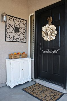 90 Fall Porch Decorating Ideas | Shelterness ..... There are some great ideas, possibly thinking about changing my front door color with the season .... My husband will love the idea!