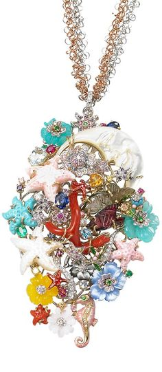 Santagostino jewellery-Earrings n.A 421 18 KT GOLD (YELLOW AND WHITE) DIAMONDS, RUBIES, SAPPHIRES, CHRISOPHASE, PINK AND BLUE QUARTZ, AGATE, BLUE TOPAZ, CORAL, MOTHER OF PEARL, TURQUOISE AND ENAMEL