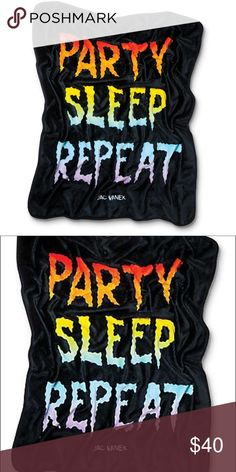 "NWT JV by Jac Vanek Repeat Black Blanket Party, eat, sleep and repeat. The Repeat blanket from JV by Jac Vanek is here to help this process along thanks to the soft plush fleece construction that is great for naps and catching some quality z's. The solid black colorway is finished with ""Party Eat Sleep Repeat"" text with colorful rainbow fade fill that is perfect or adding some custom flavor to your room, couch, floor or wherever you like to stash your blankets. NWT Thick fleece plush…"