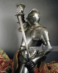Stock Photo : Horseman's armor in steel decorated with engravings, made in England, 1565-1570, Italy, 16th century