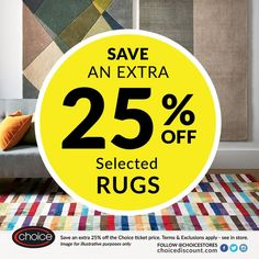 Fancy a new rug for your home? Save an EXTRA 25% OFF the Choice ticket price on selected rugs - ends Monday 30th May! (@ClactonOutlet) on Twitter!