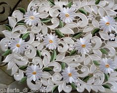 """Field of Daisies Lace Doily Daisy 44"""" Runner Flower White Floral 