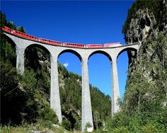 LANDWASSER VIADUCT The Landwasser Viaduct (German: Landwasserviadukt) is a single track six-arched curved limestone railway viaduct. It spans the Landwasser River between Schmitten and Filisur, in the Canton of Graubünden, Switzerland.