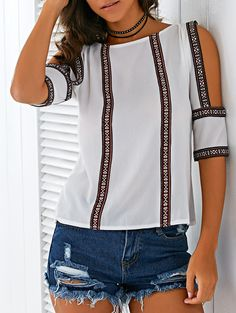 Ethnic Embroidery Scoop Neck Hollow Blouse
