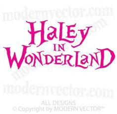 Alice in Wonderland Personalized Name Vinyl Wall Decal #ModernVectorStickyImaginations #LetteringWallArt